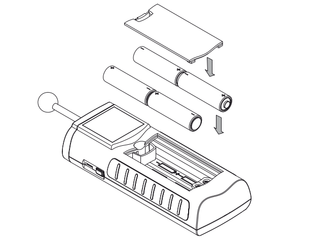 Moisture Meter Battery Insertion and Change Detail